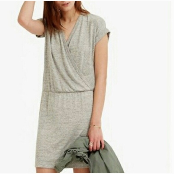 Lou & Grey Dresses & Skirts - Lou & Grey Faux Wrap Jersey Gray Dress